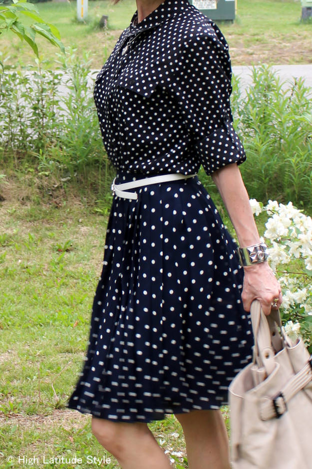 #mixingPrints details of polka dots meet polka dots work outfit styled by Nicole of High Latitude Style