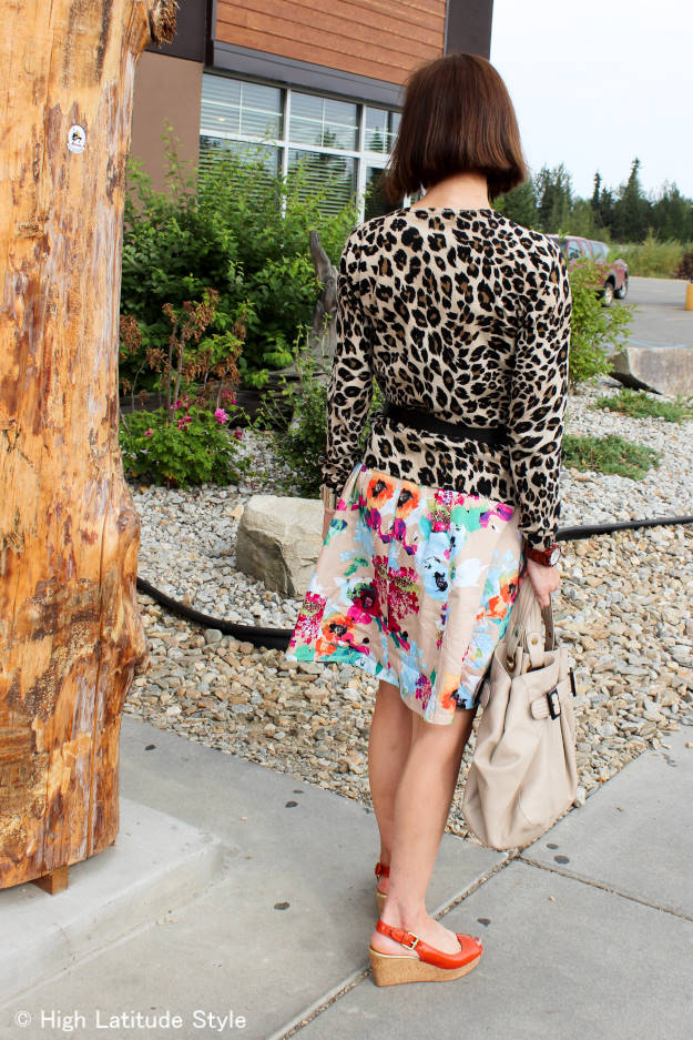 Fairbanks stylist mixing abstract floral and leopard prints