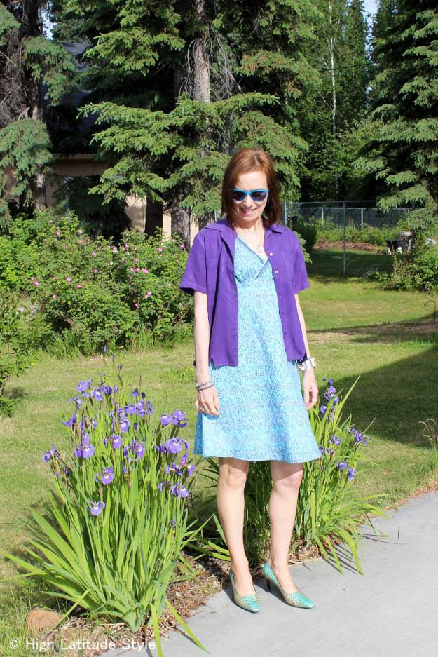 #over40fashion printed dress with blouse as jacket