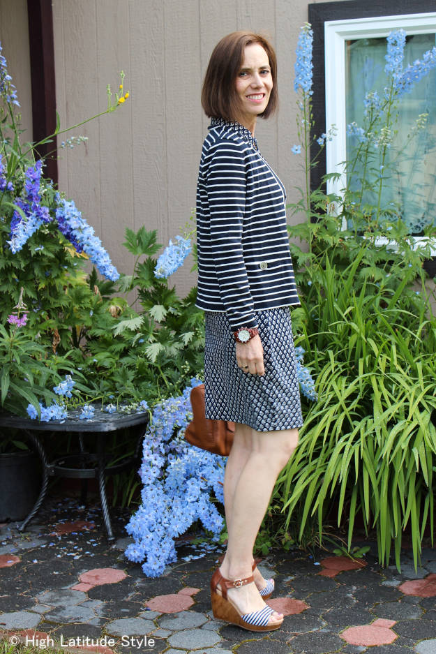 #fashionover40 style blogger with embroidery inspired work outfit