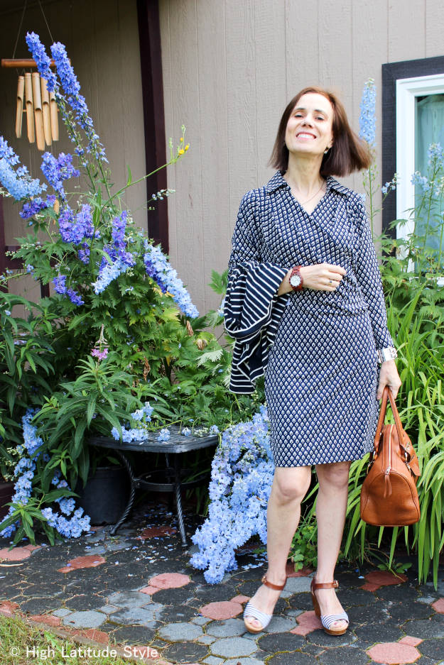 #styleover50 woman in posh jersey wrap dress with delicate print