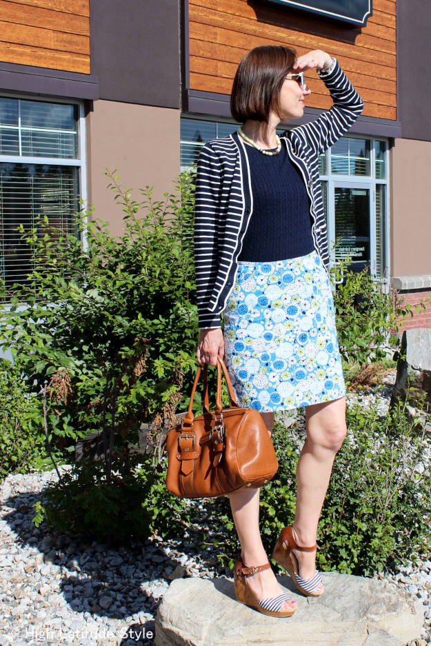 #fashionover40 #fashionover50 fall work outfit with cardigan and floral skirt