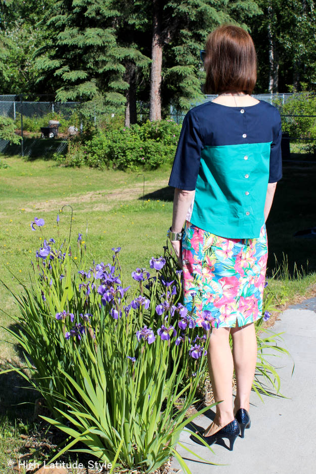 #styleover40 #floralprintsover40 mature summer outfit with floral print and denim skirt