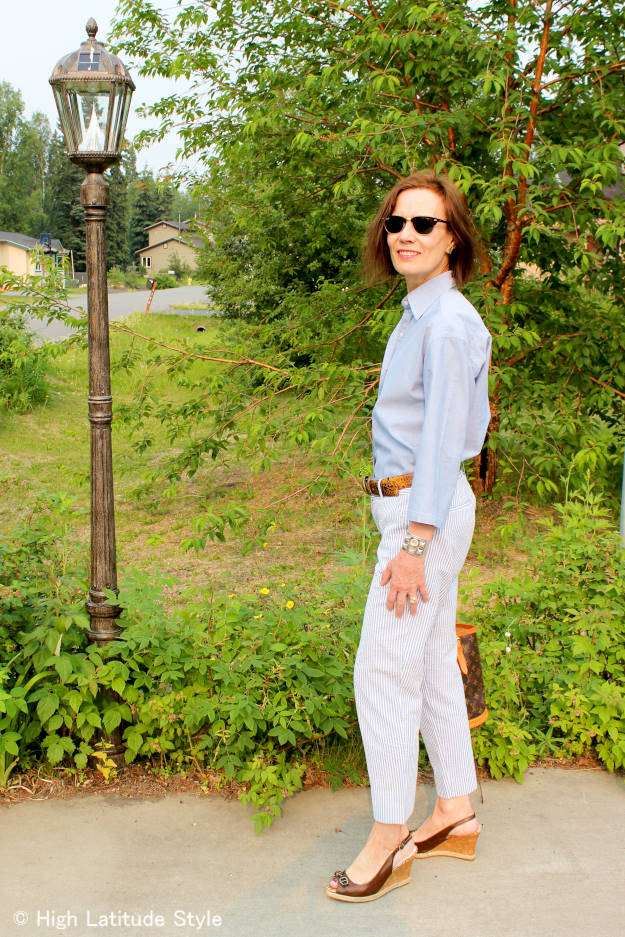#midlifefashion woman looking chic in a menswear summer work outfit