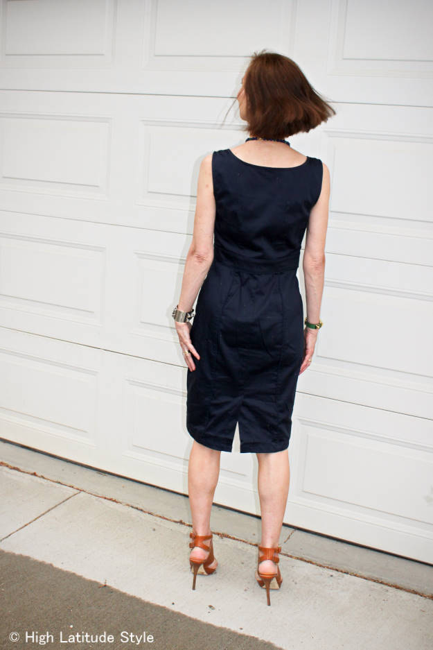 #styleover40 #fashionover40 #over50fashion sheath dress with back slit | High Latitude Style | http://www.highlatitudestyle.com