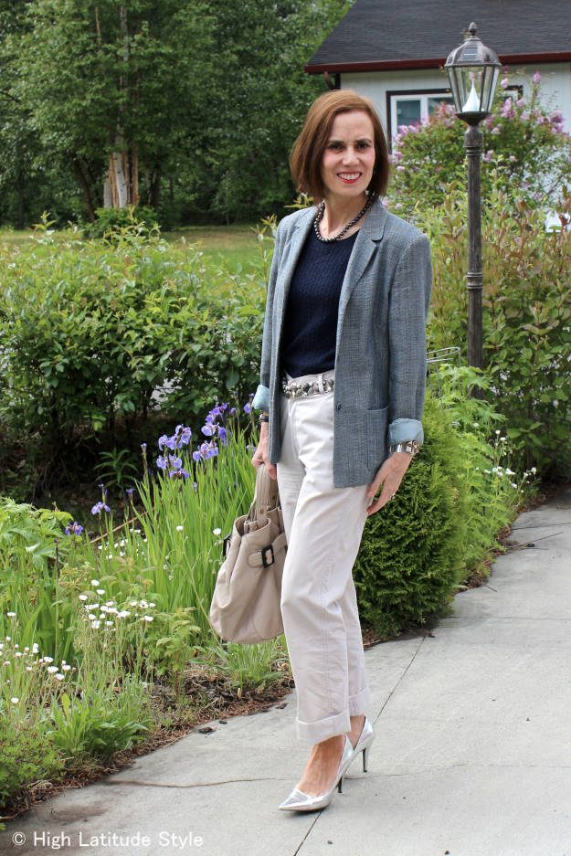 #over40fashion #over50fashion work look with blazer and chinos (side view)