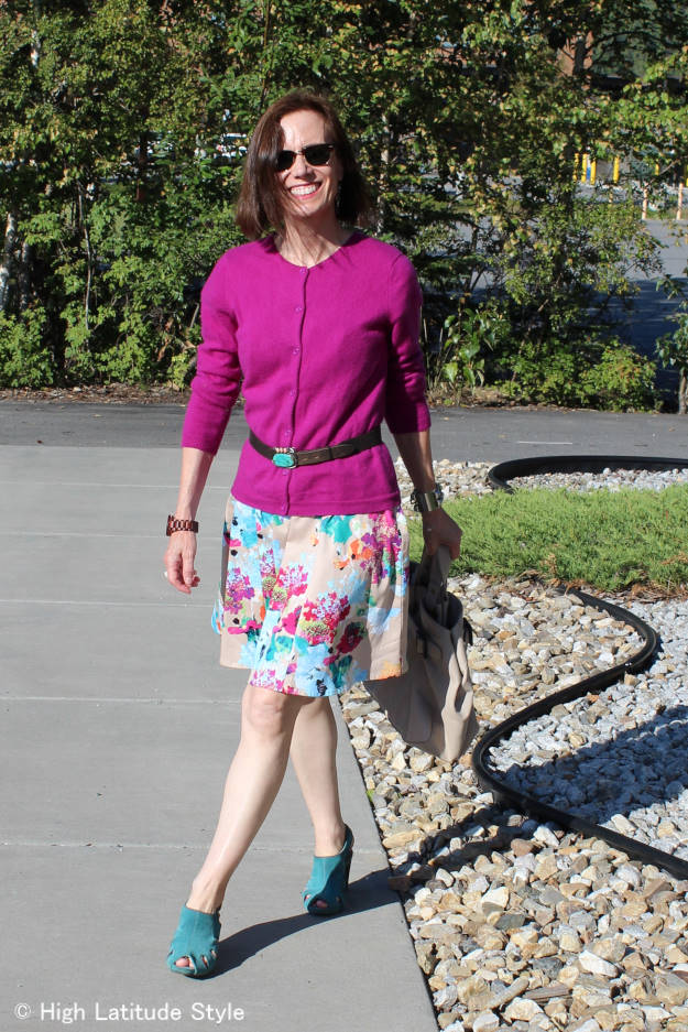 #fashionover50 maximizing the wardrobe by wearing a dress as skirt, cardigan as top