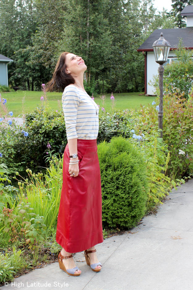 #fashionover40 maxi leather skirt with striped shirt
