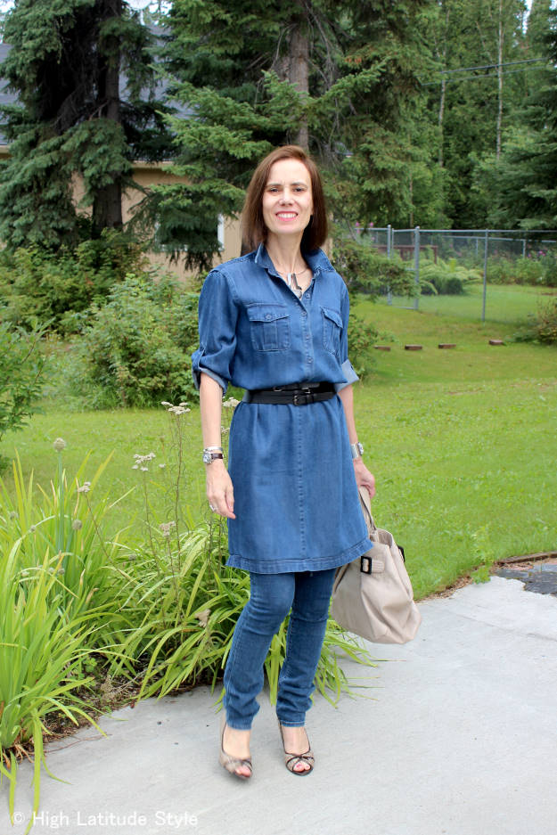 #AlmoJewellery #fashionover50 Looking ageless  example: dress over pants of the 70s trend skinny jeans and denim dress