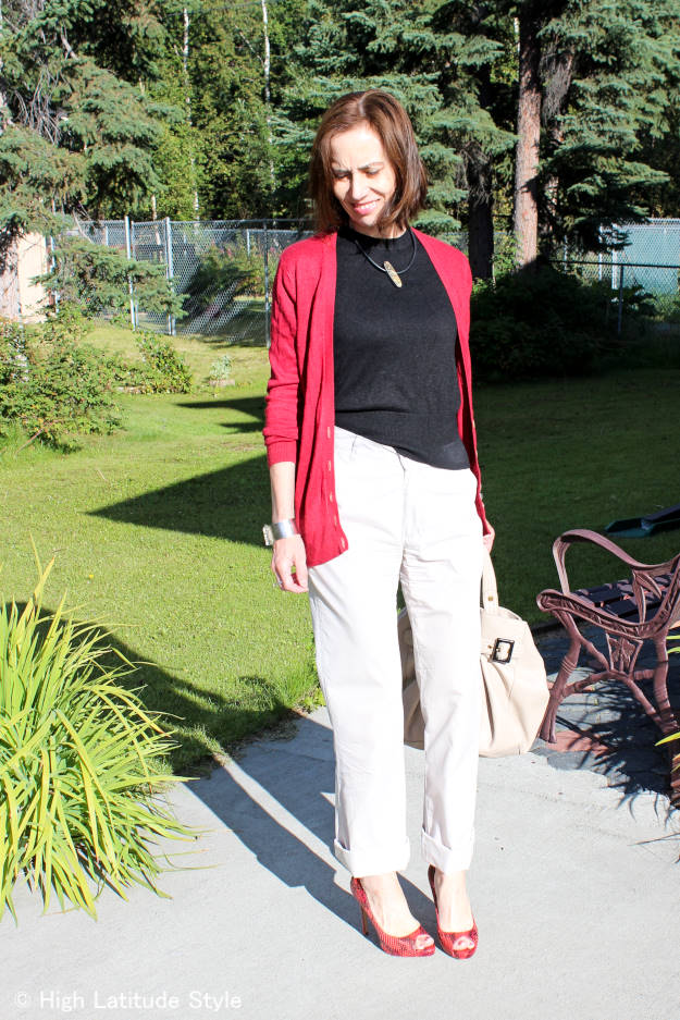 over 40 years old Alaskan midlife style blogger in a posh casual OOTD with chinos, sweater, cardigan and high heels