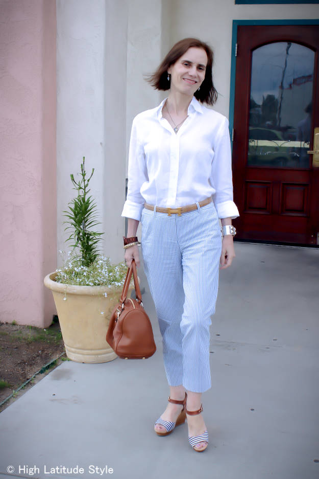 midlife summer office look with pants