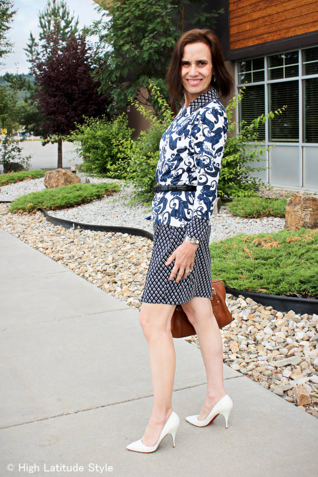 #fashionover40 #fashionover50 blue-white work look with mixed ethnic prints