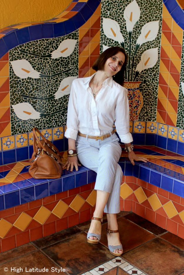 style blogger over 40 in posh casual summer work look with seesucker trousers