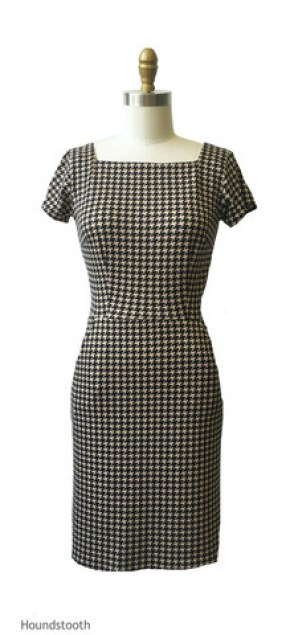 houndstooth dress for posh chic in midlife