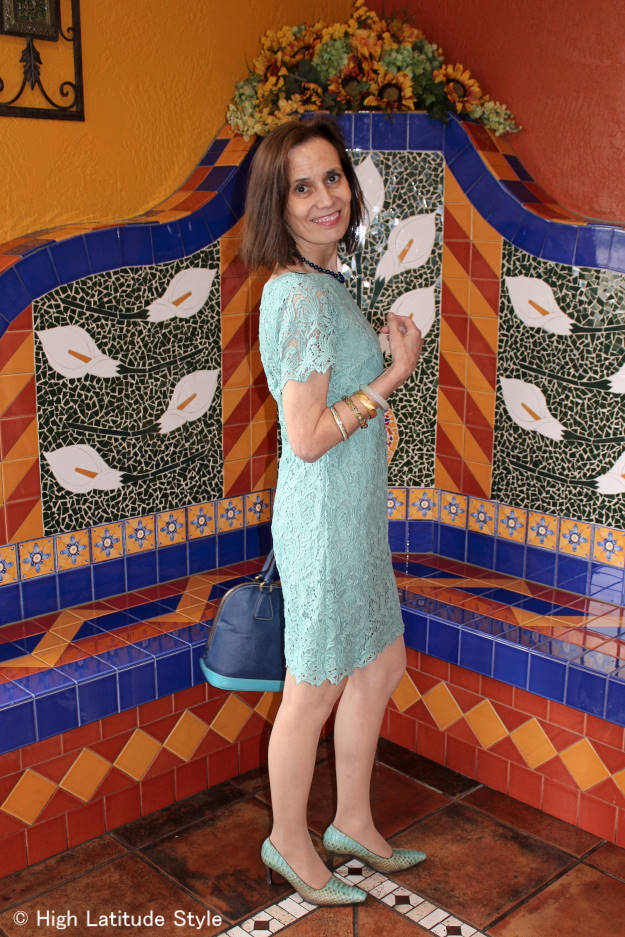 fashionover50 woman in pastel work outfit