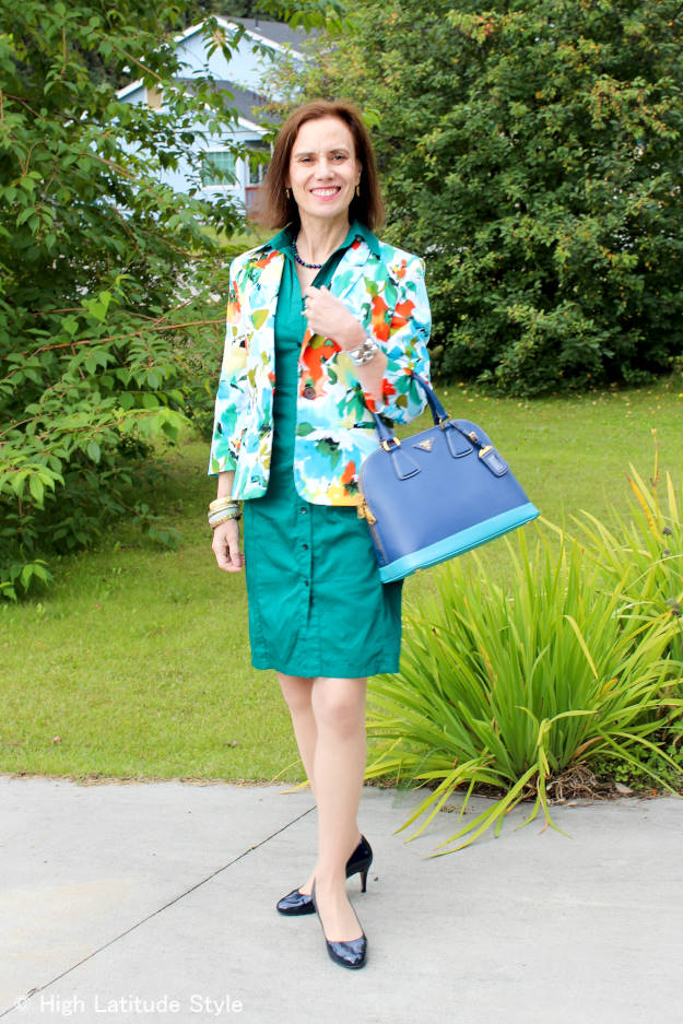 #fashionover40 #fashionover50 woman wearing a floral print blazer over a solid color dress