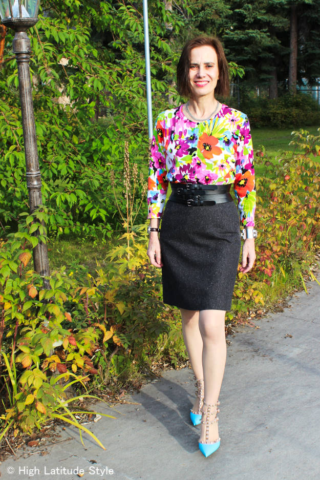 over 40 style fall work outfit with tweed and floral top