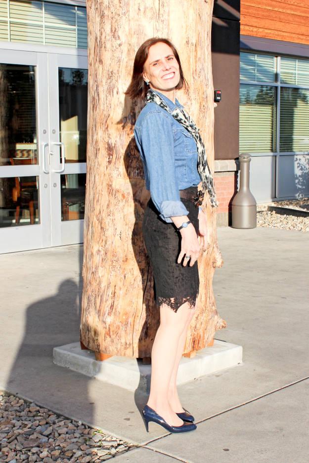 #maturefashion mature woman with lace skirt and denim shirt
