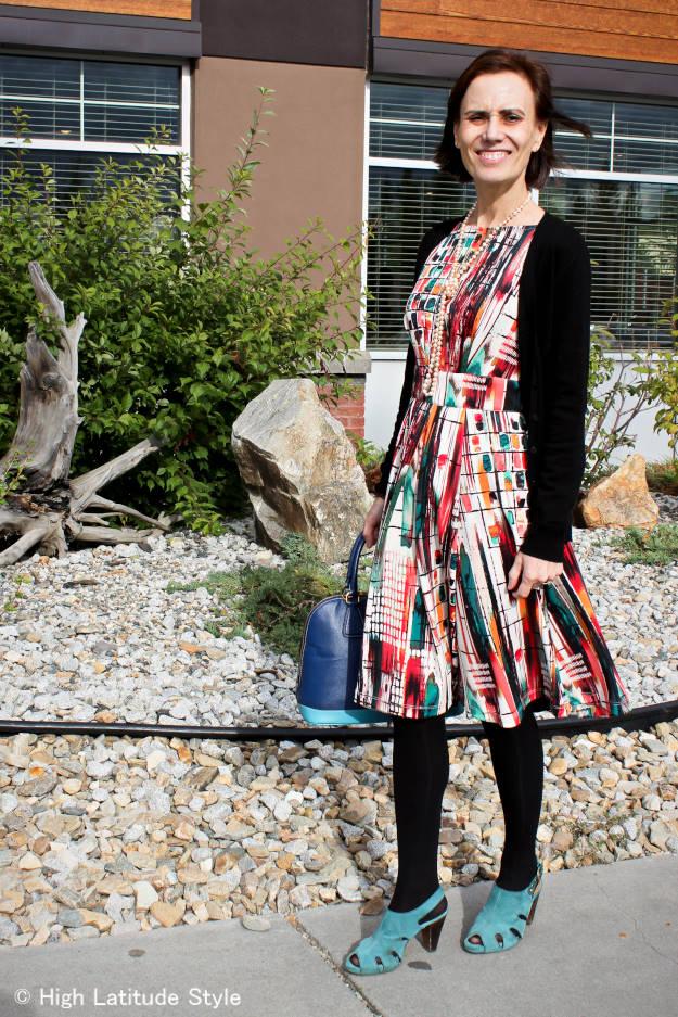 midlife woman in printed summer dress