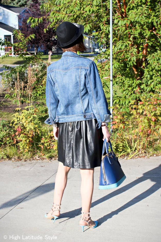 midlife woman in street style