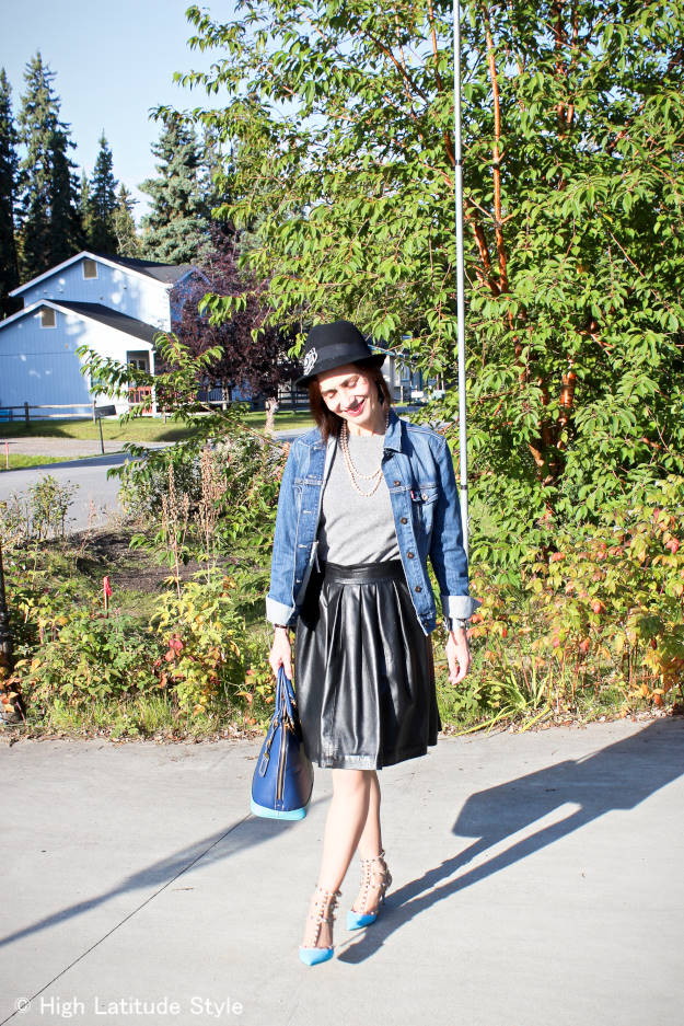 Alaskan fashion blogger wearing street style with leather and hat