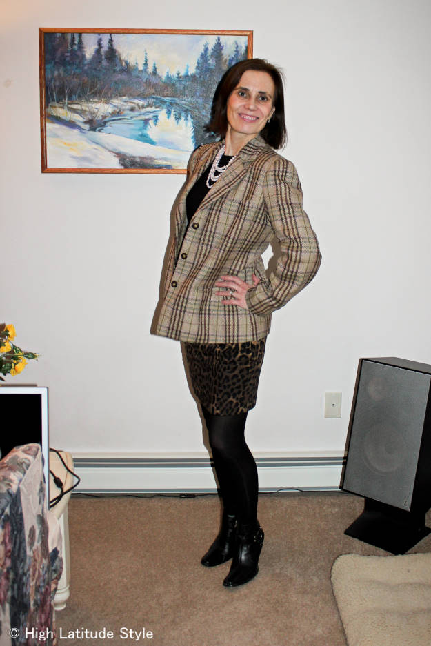 over 50 years old fashion blogger looking posh in an outfit with a mix of leopard print and plaid