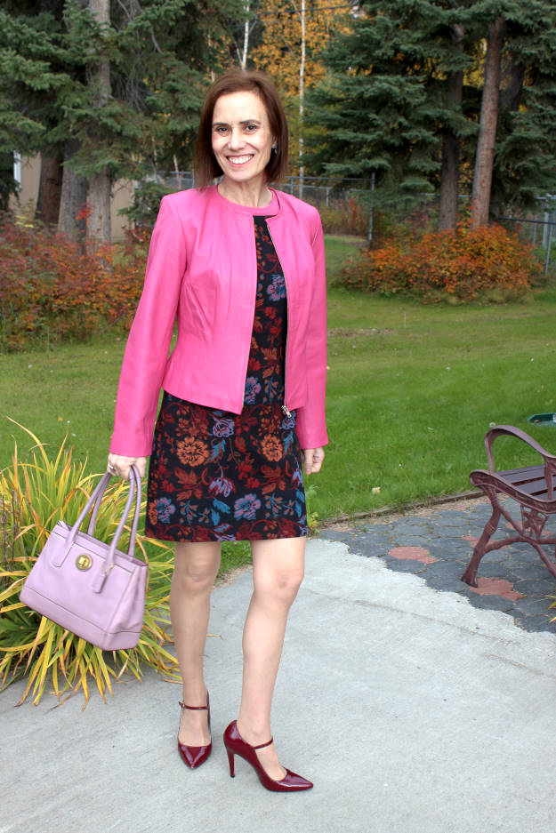 office look with a tapestry sheath that has floral pattern in multiple colors
