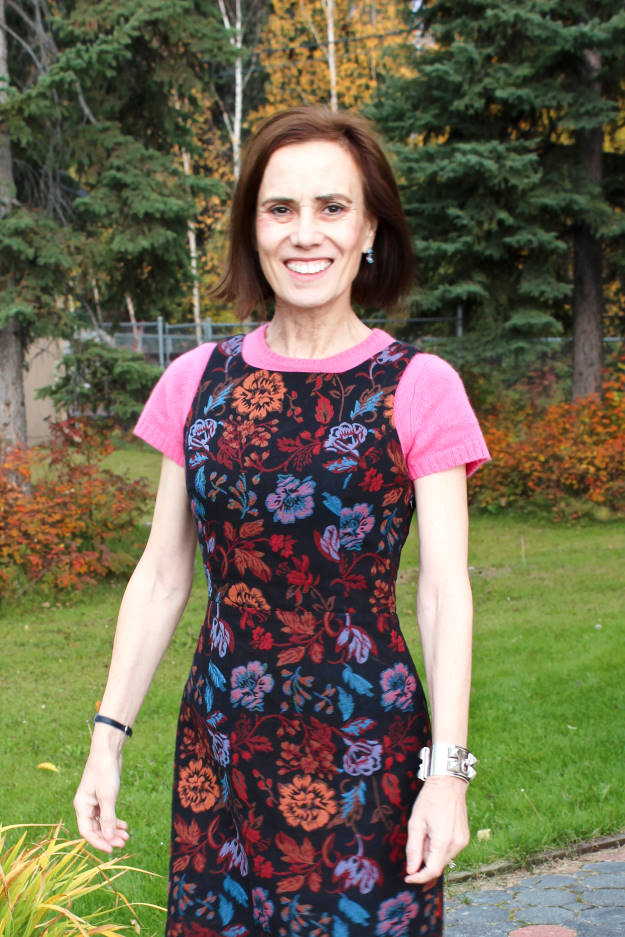#fashionover40  Best looks of September - work outfit with tapestry sheath dress