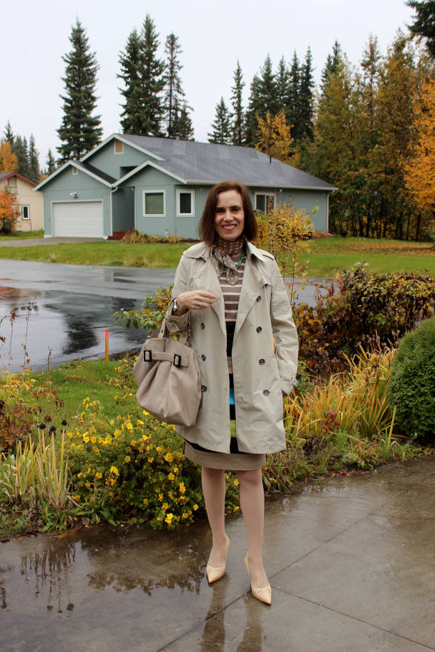 mature outerwear outfit for a rainy day