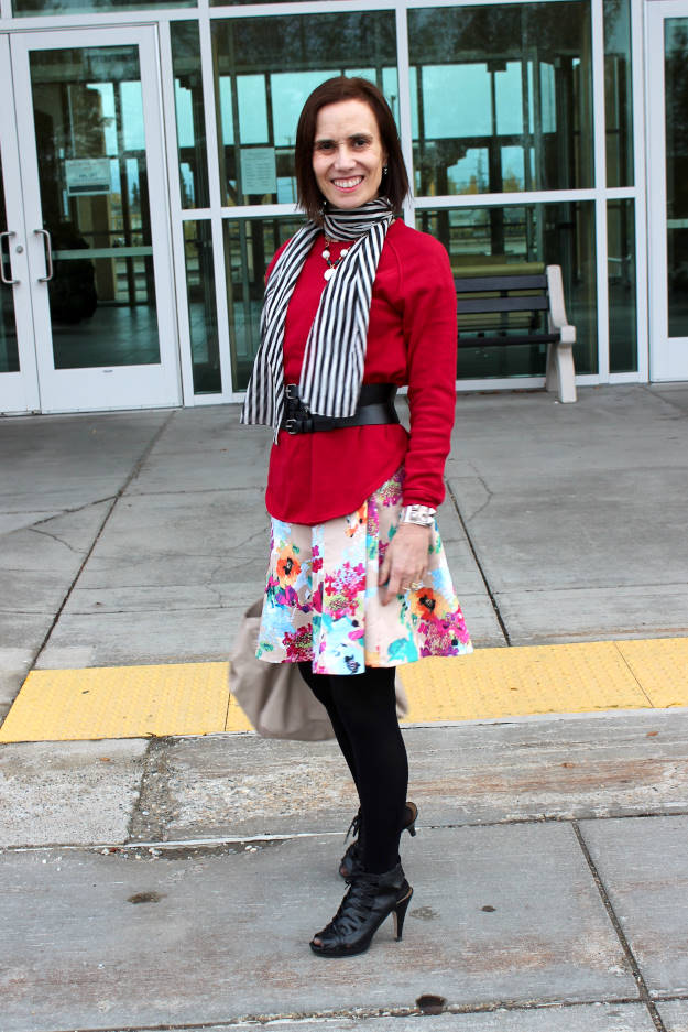 style book author wearing stripes and floral print in one outfit