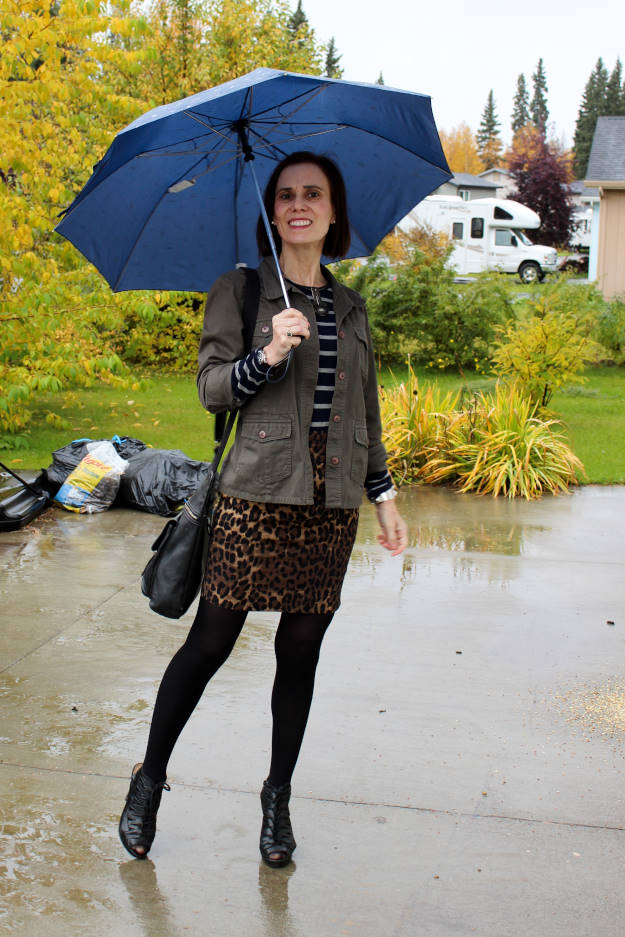 fashionover40 woman in utility jacket and leopard print skirt