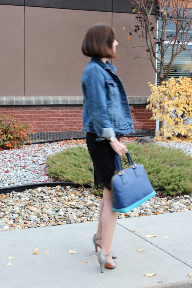 #fashionover50 mature woman wearing a lace pencil skirt with denim