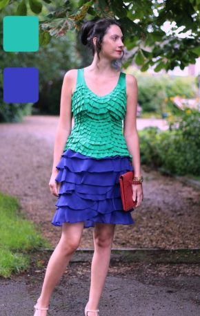 Example of analogous colors for skirt and top