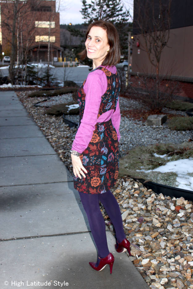#fashionover40 work outfit photo taken in twilight with snow lightening the scene
