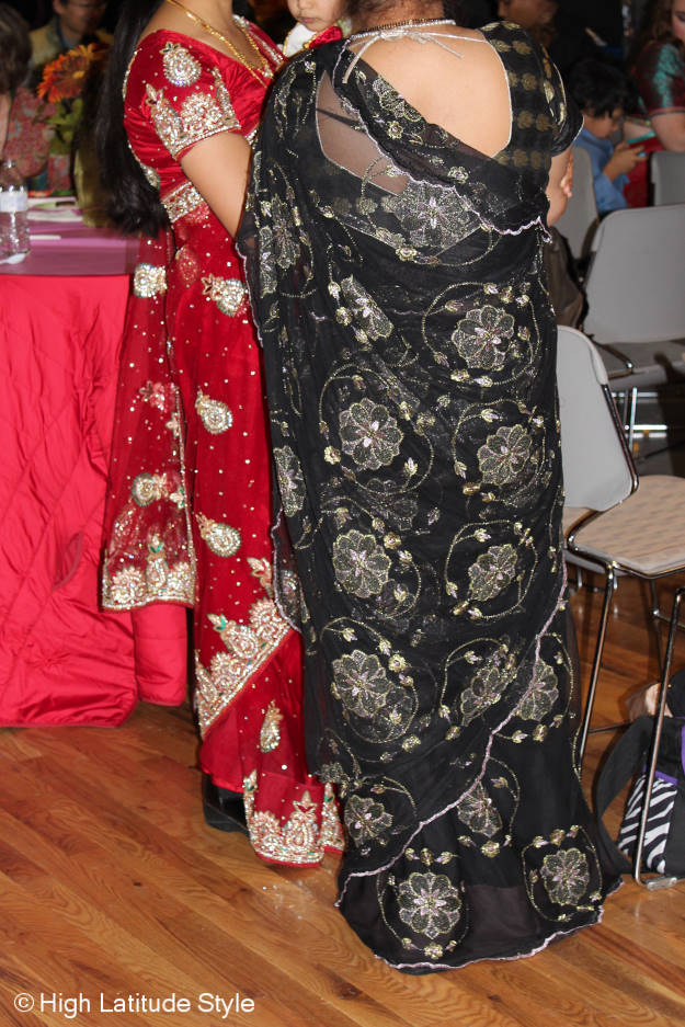 #fashionover40 #fashionover50 Beautifully embellished saris at Diwali in Fairbanks