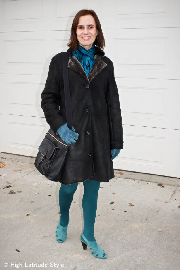 midlife fashion blogger in all one color winter outerwear