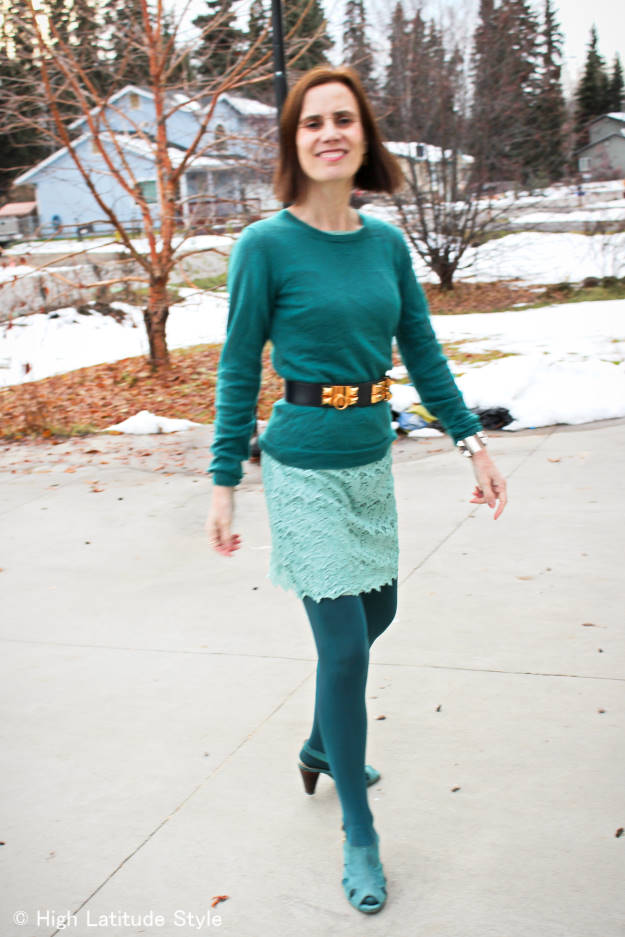 style blogger Nicole in teal monochromatic look with lace, tight, sweater, and fall sandals