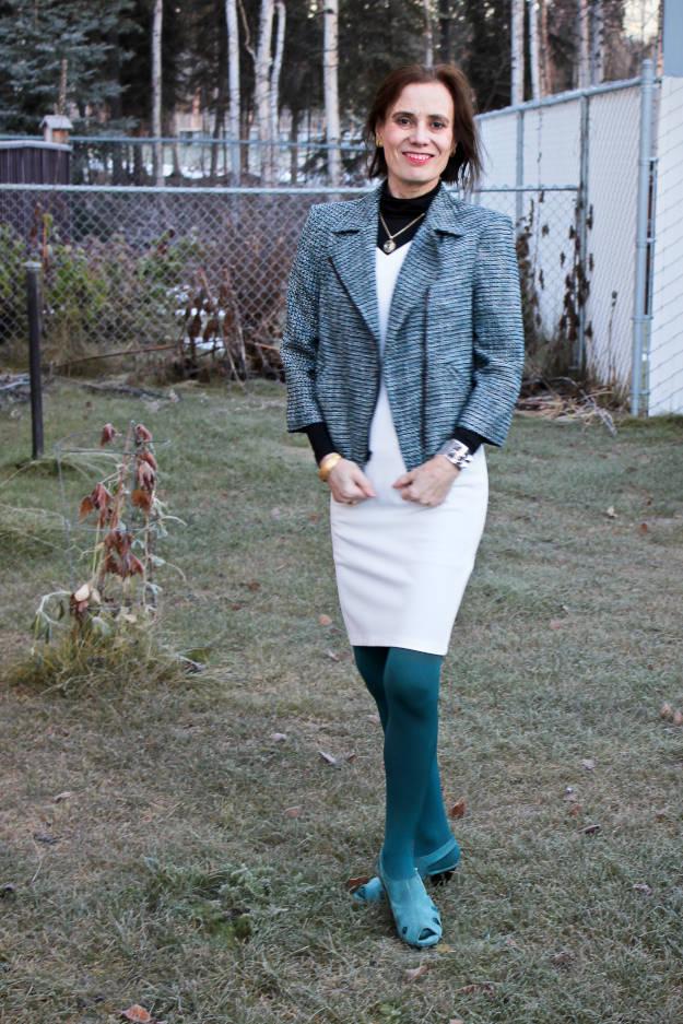 #fashionover40 #fashionover50 #Adea #LookbookStore fashio blogger in a white sheath summer dress styled for autumn with layers