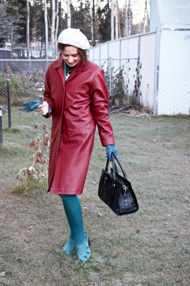 mature woman in leather fall outerwear