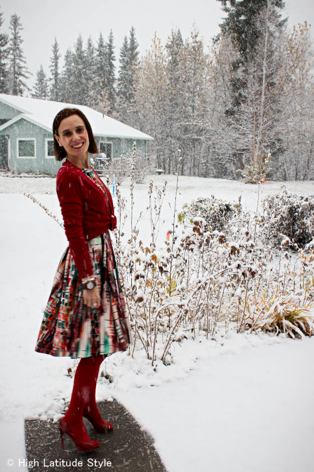 #fashionover40 #fashionover50 Best looks of October: example summer dress styled for the first snow