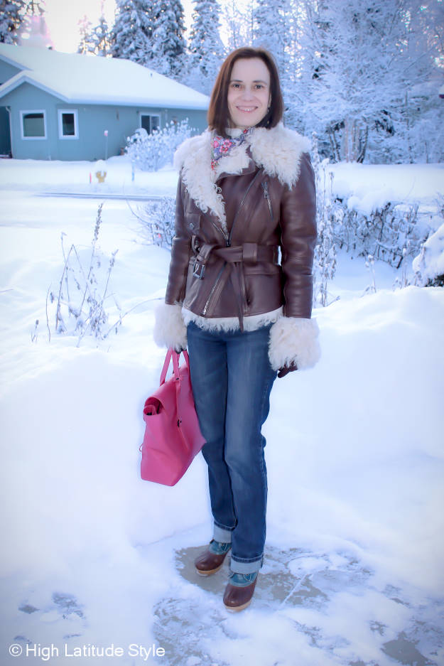 #Fashionover40 woman in stylish outerwear