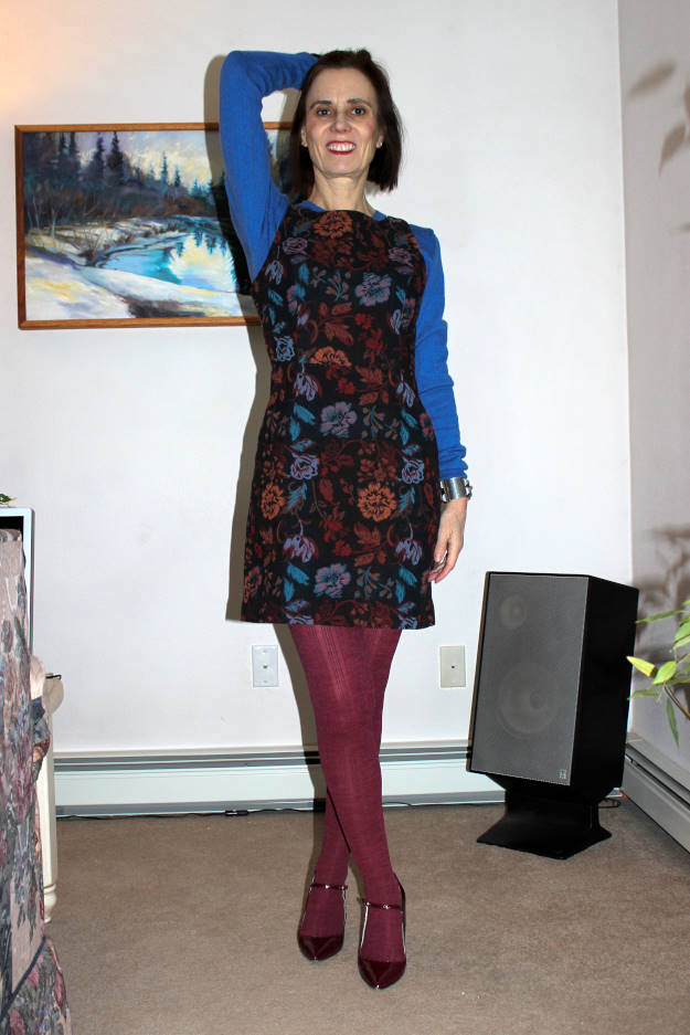 midlife woman wearing tights with a sheath dress