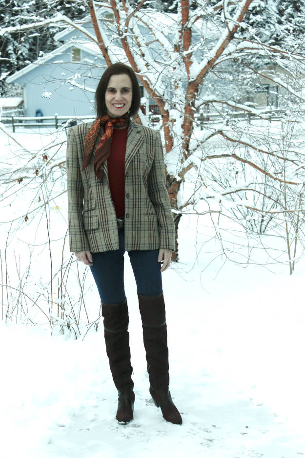 fashion blogger in plaid blazer, suede thigh high boots, skinnies for Casual Friday