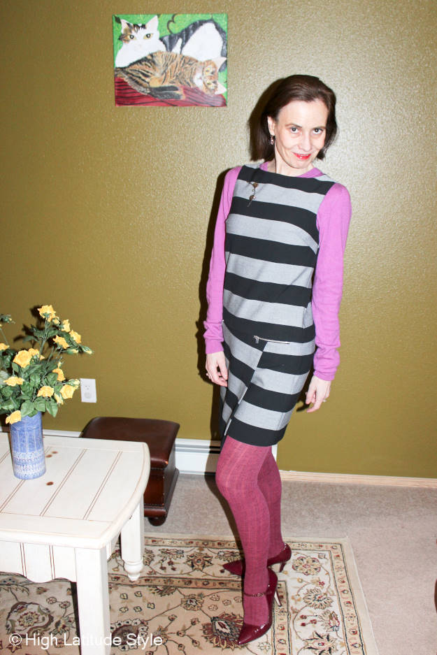 midlife woman in asymmetric shift dress