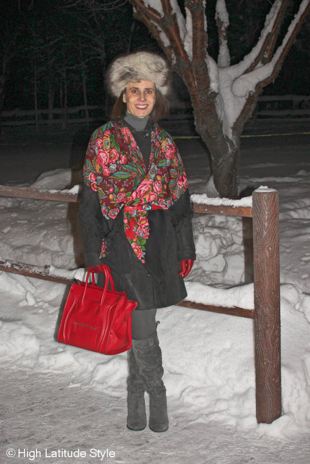 mature women in Alaska winter outerwear with Russian scarf