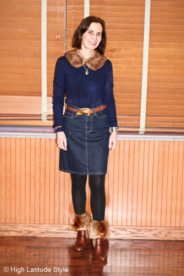 fashion over 40 woman in denim skirt and blue sweater