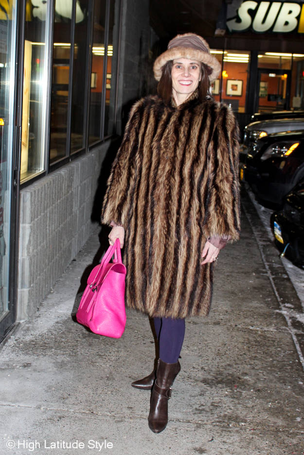 #fashionover40 woman in Alaska winter outfit shopping for Christmas at a mall
