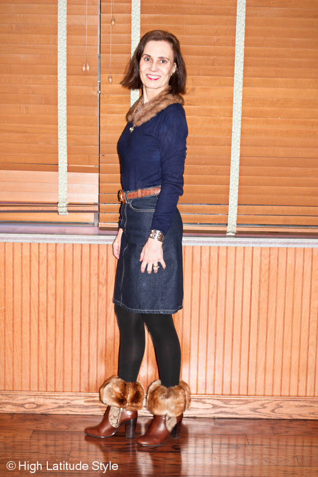 midlife style blogger in casual posh chic winter office look with Coach booties found in summer on sale