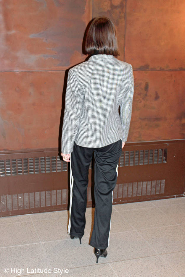 #fashionover50 woman wearing a fake suit with sweat pants for work