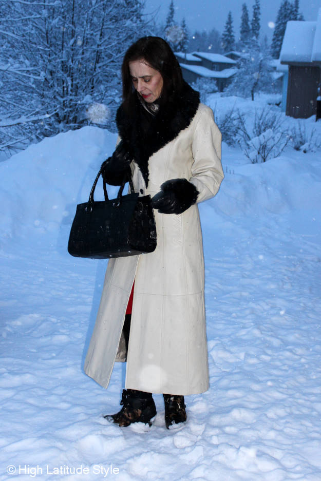 Tea lenth leather coat with faux fur at the Top of the World Style linkup party http:a..www.highlatitudestyle.com